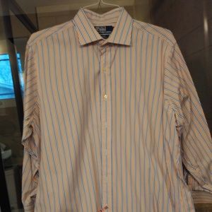 Polo Blue and Orange Striped Dress Shirt